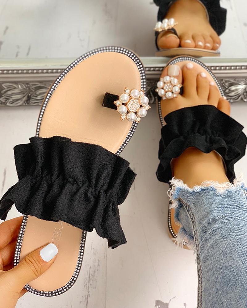 Toe Ring Beaded Frill Hem Casual Sandals фото