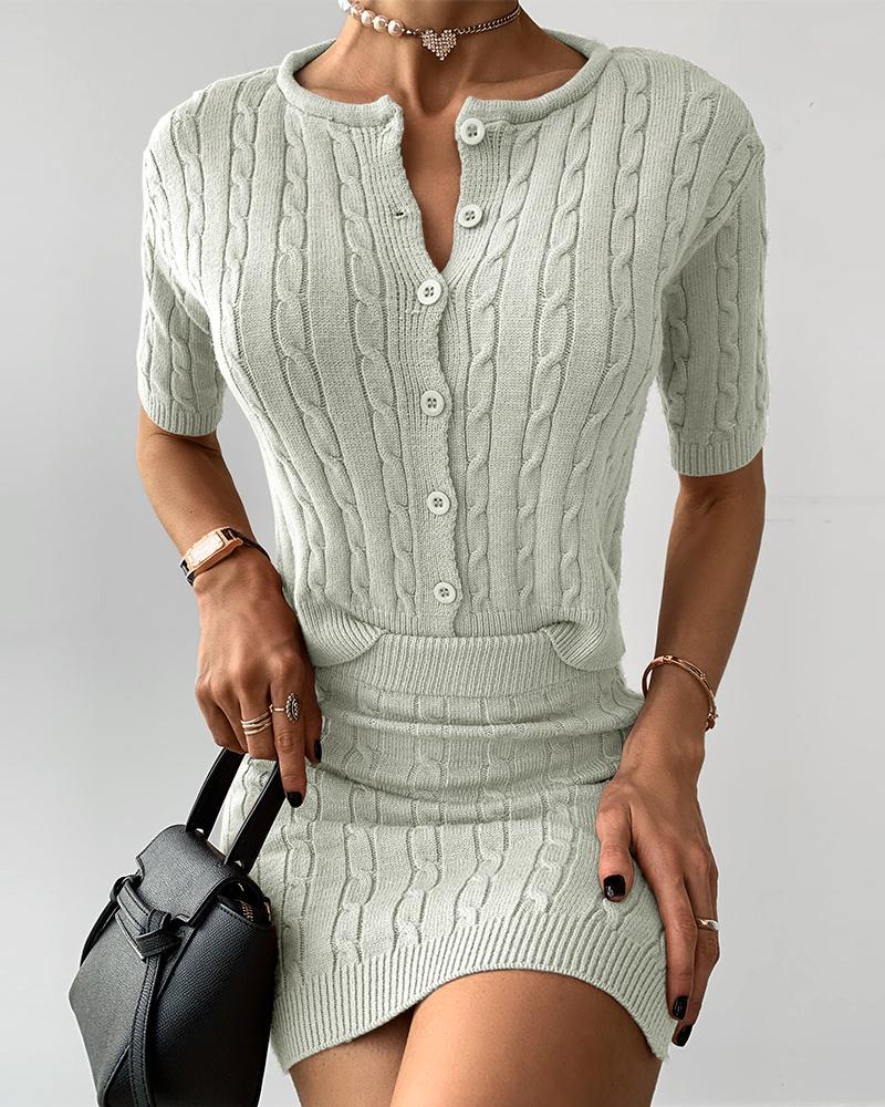 ivrose / Buttoned Knit Ribbed Crop Top & Slit Skirt Sets