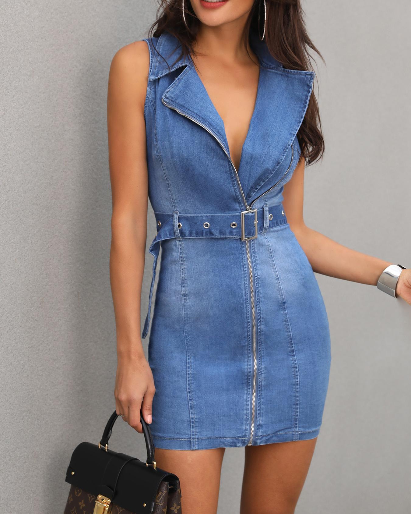 Denim Sleeveless Button Through Belted Dress фото