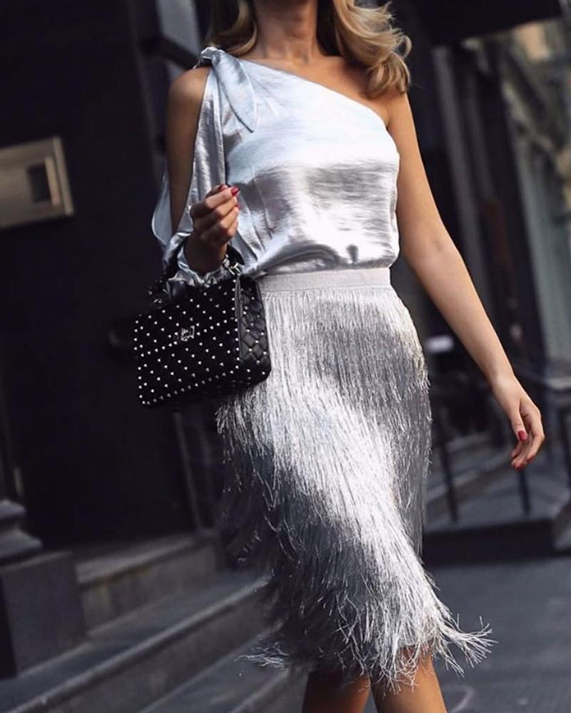 Cold shoulder Top & Fringe Midi Skirt Set фото