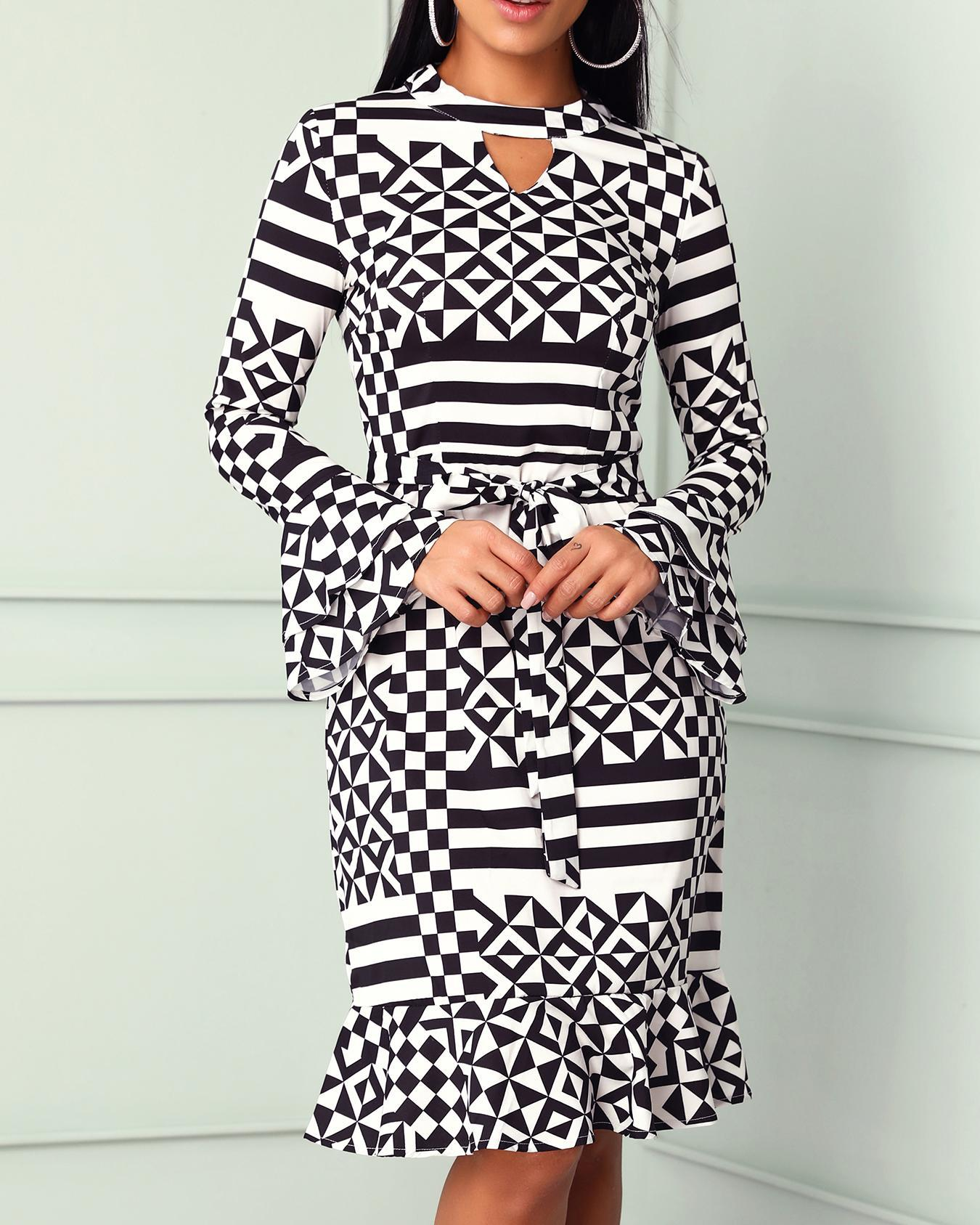 Geo Print Flare Long Sleeve Ruffle Hem Dress