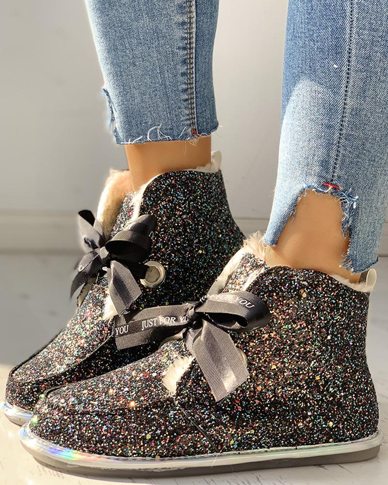 joyshoetique / Glitter Tied Sequins Flat Ankle Boots