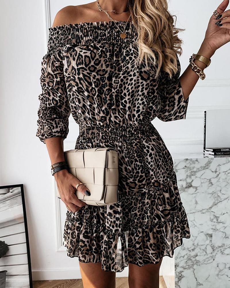 chicme / Vestido plisado con hombros descubiertos de guepardo