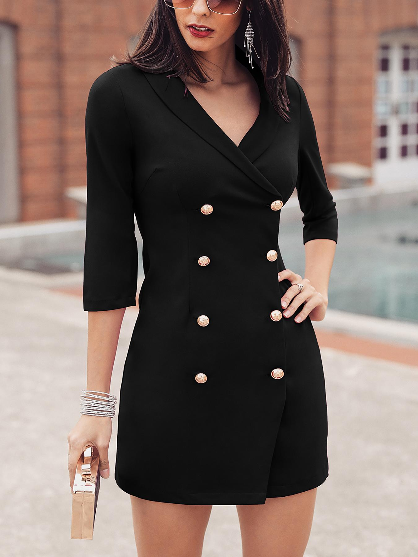 Solid Double-Breasted OL Blazer Dress, Black
