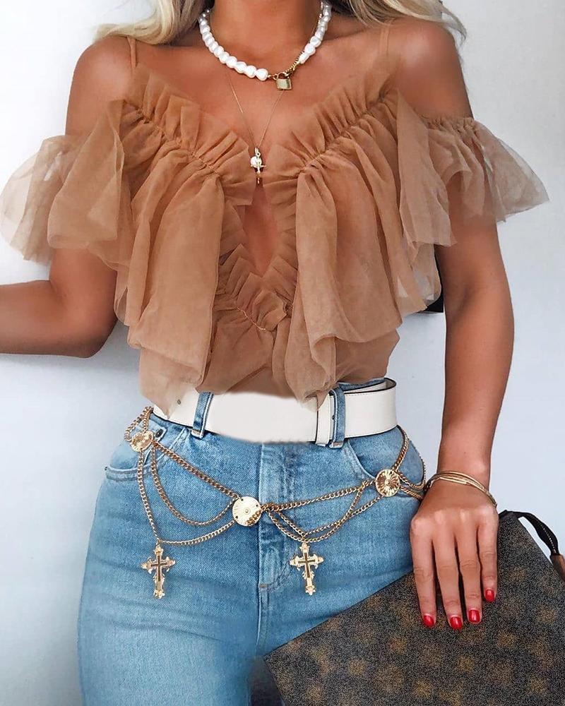 boutiquefeel / Blusa de hombro frío con diseño de volantes de malla sólida