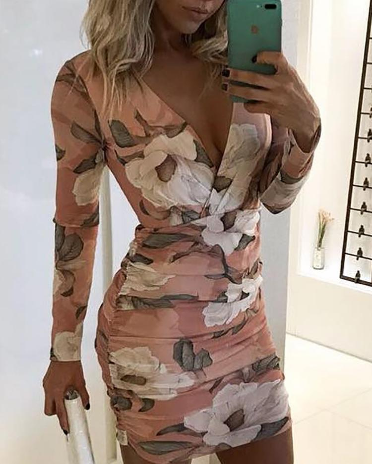 Floral Print Long Sleeve Ruched Bodycon Dress