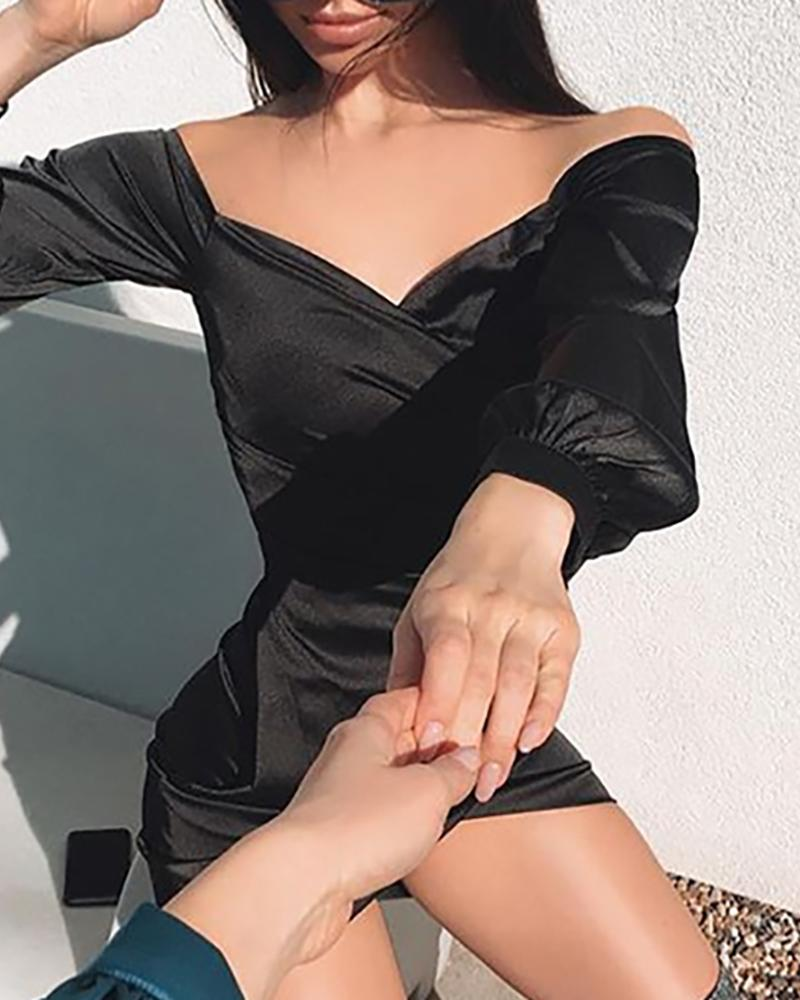 Surplice Wrap Ruched Bodycon Dress фото