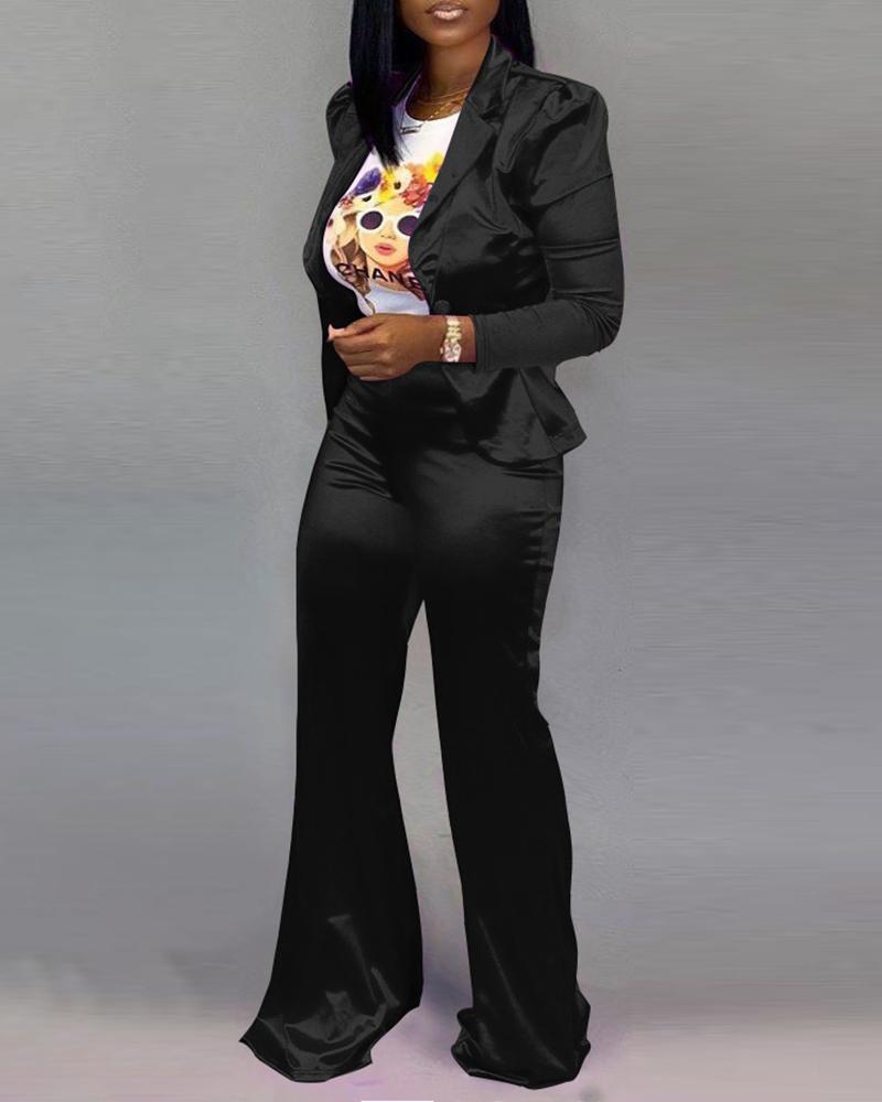 chicme / Blazer con cuello de muesca sólido con manga de soplo y conjuntos de pantalones anchos