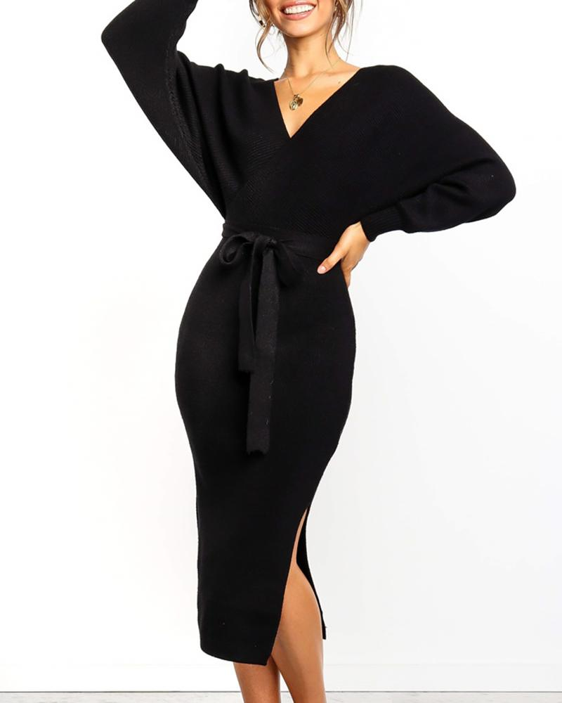 Ribbed Cut Out Backless Knotted Slit Dress фото