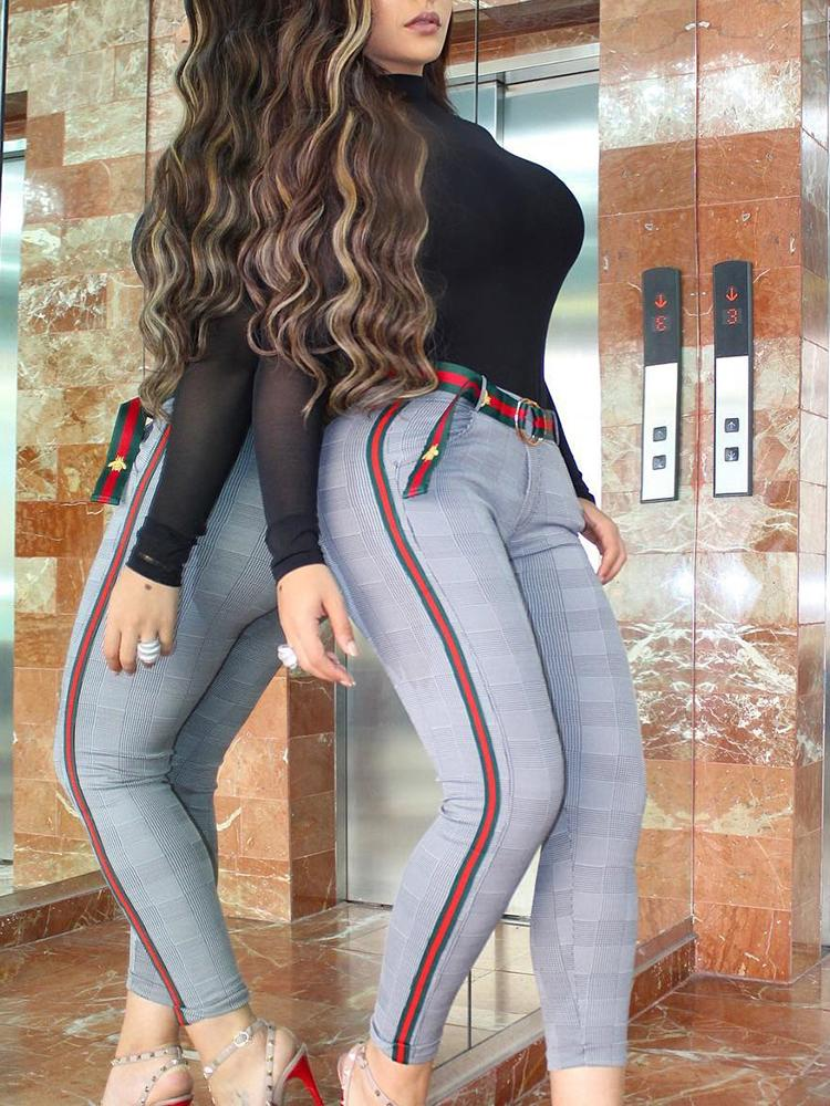 Pantalon à rayures sur le côté avec ruban adhésif et ceinture