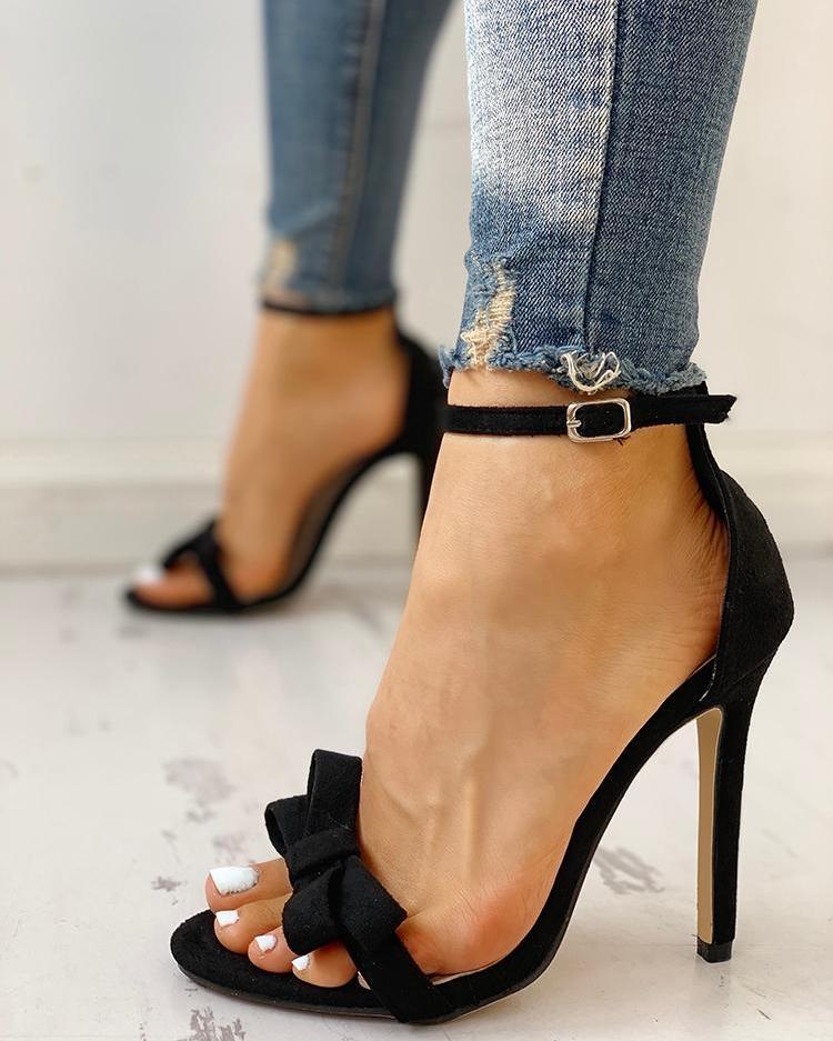 joyshoetique / Bow Decorate Ankle Strap Thin Heeled Sandals