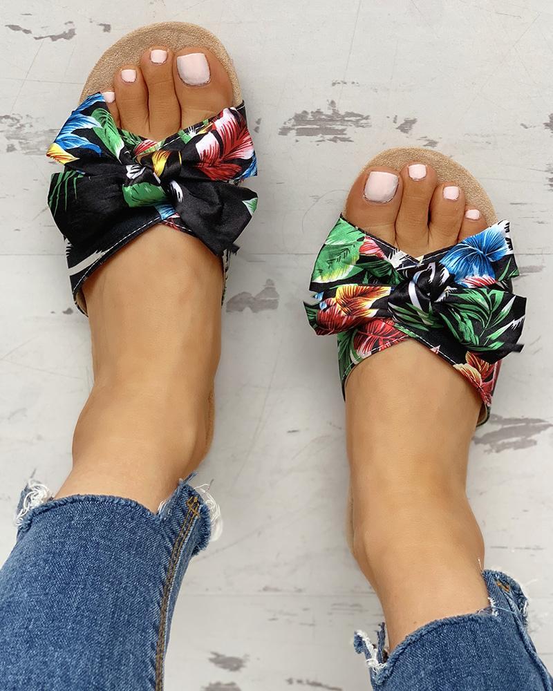 Open Toe Bowknot Design Flat Sandals
