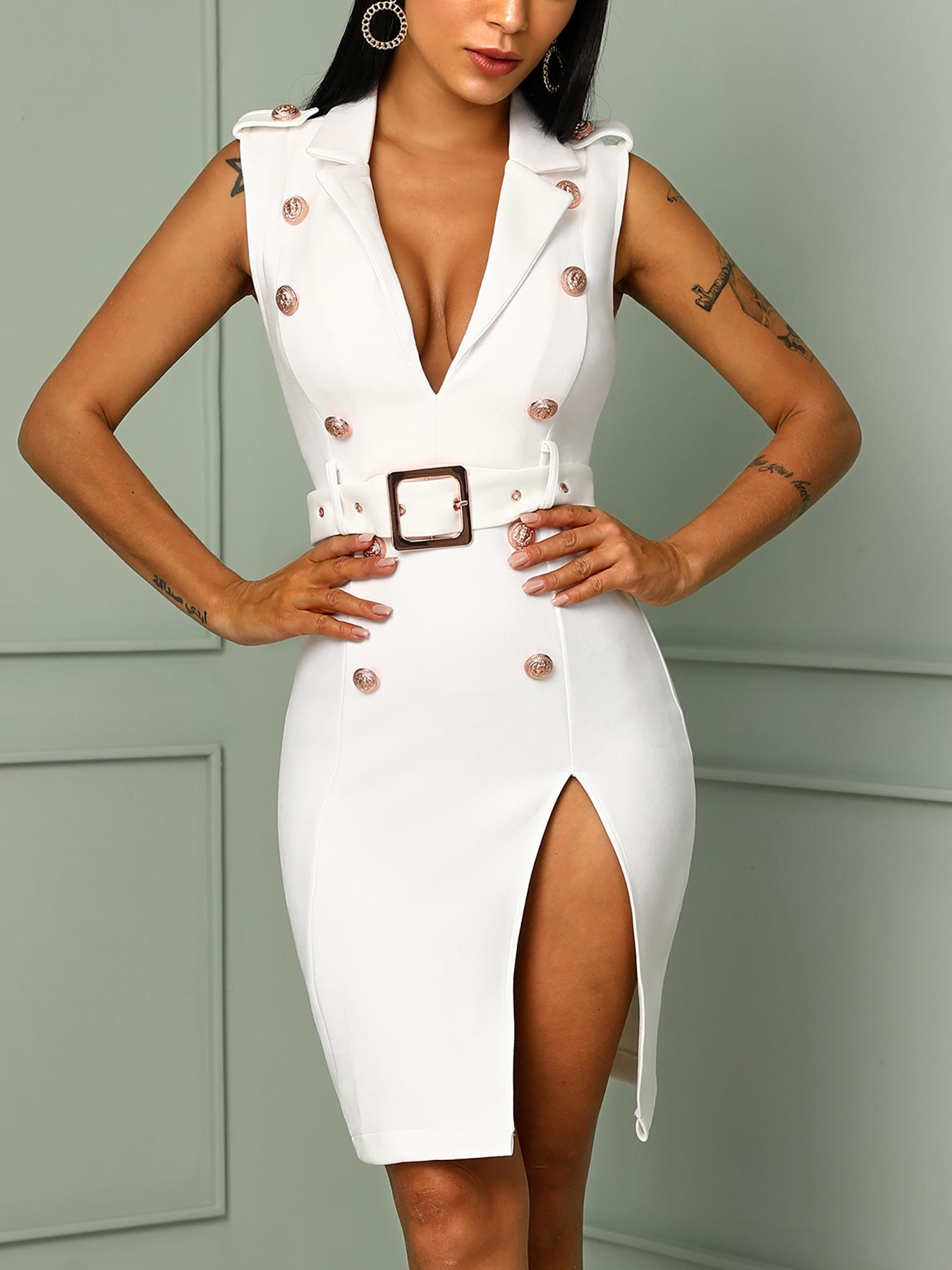 Solid Double-Breasted Thigh Slit Belted Dresses
