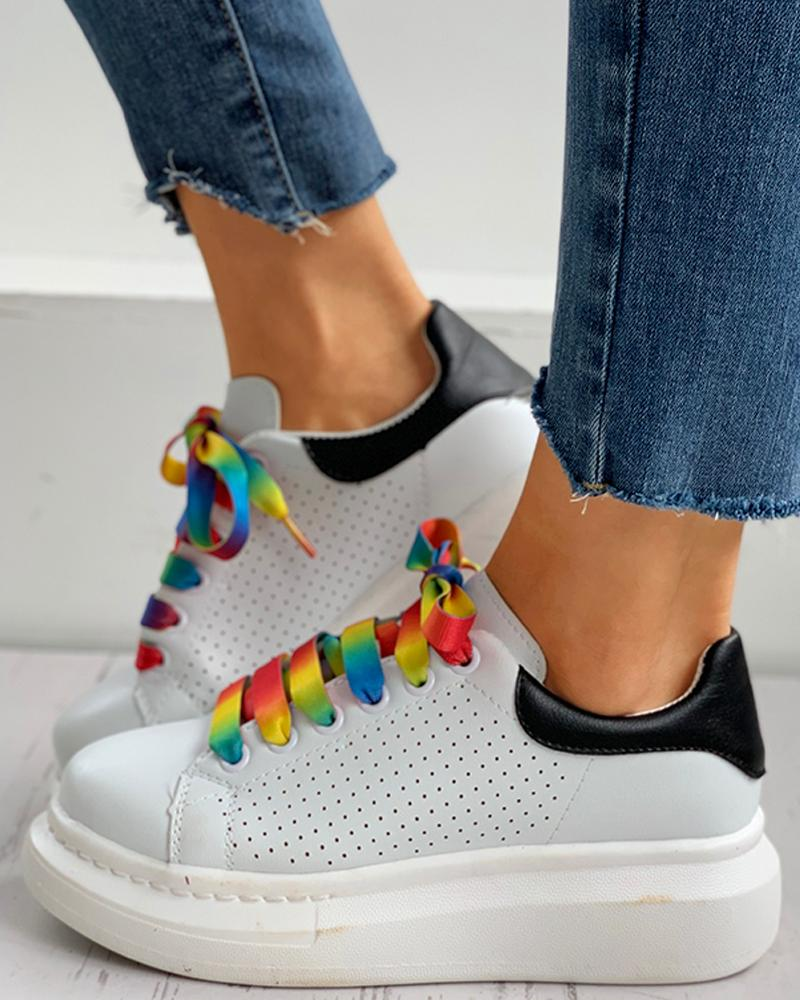 chicme / Colorblock Lace-up Breathable Casual Sneakers