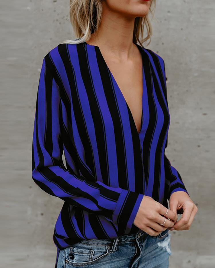 Stripes Deep V Long Sleeve Casual Blouse фото