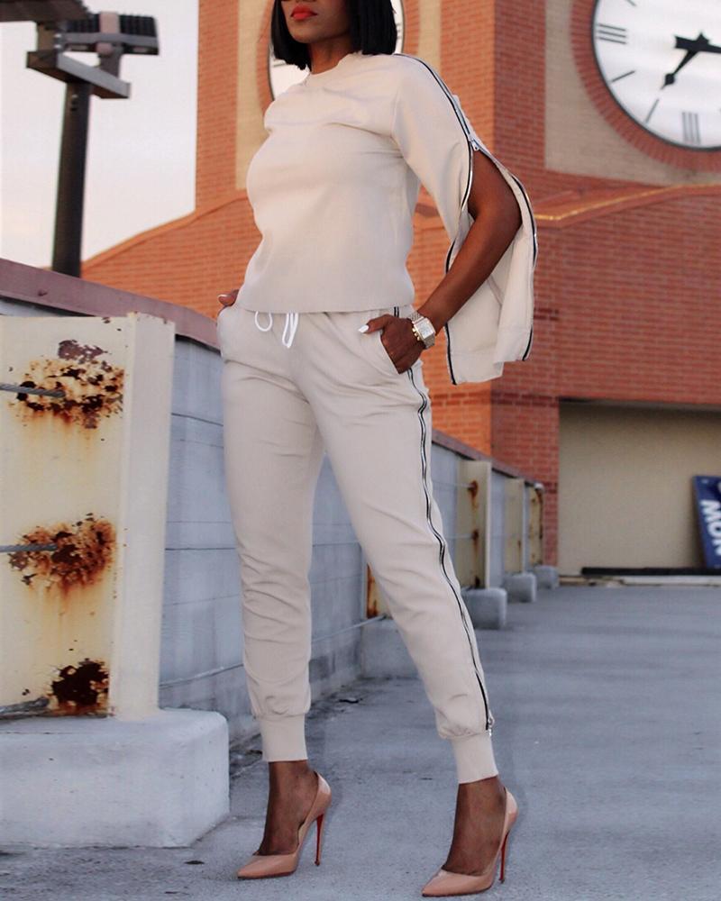 Round Neck Zipper Slit Sleeve Top & Drawstring Pants Sets, White