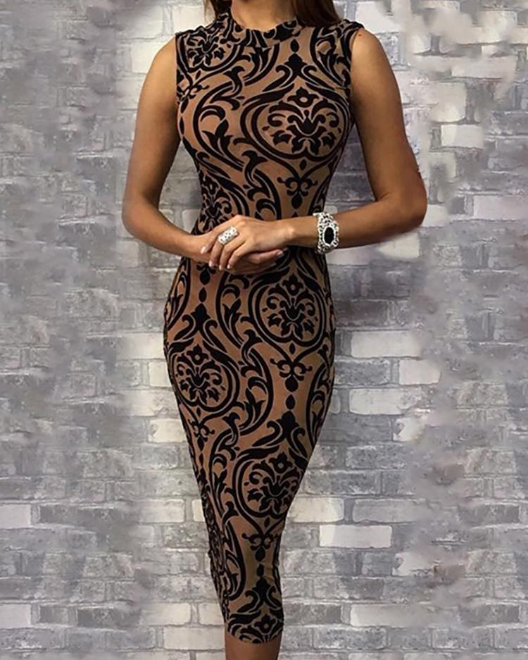 Baroque Print Sleeveless Bodycon Dress фото