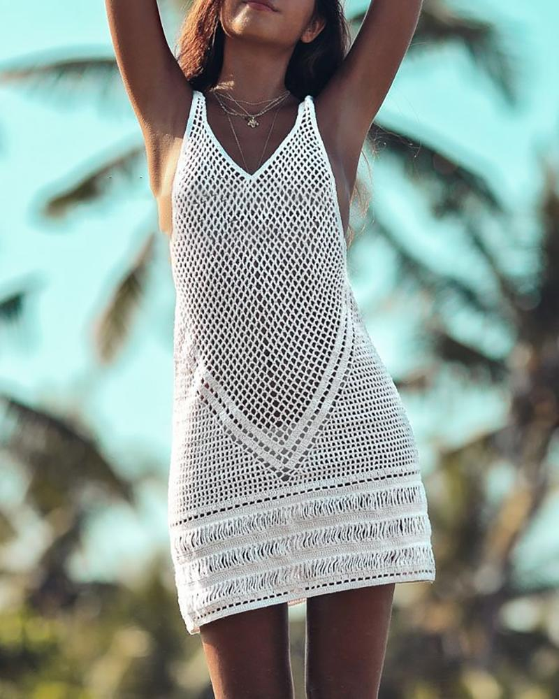 Hollow Out Sleeveless Cover Up фото