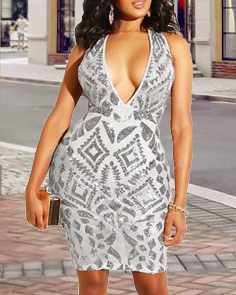 Deep V Sheer Sequins Bodycon Dress фото
