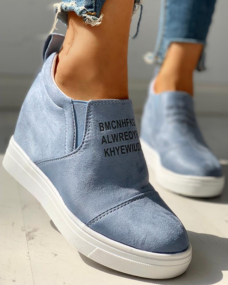 Suede Letter Pattern Casual Sneakers, Blue