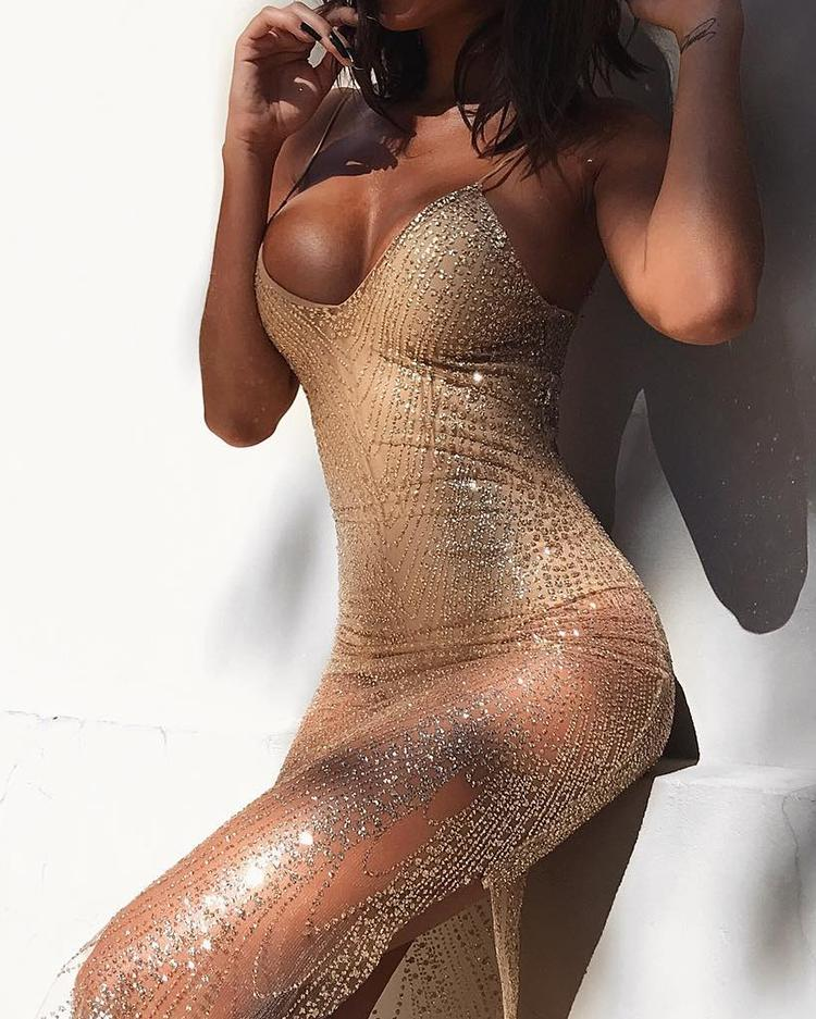Sparkly Spaghetti Strap Bodycon Romper Dress