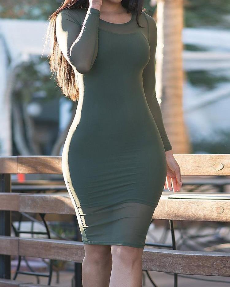 Long Sleeve Mesh Overlay Bodycon Dress фото