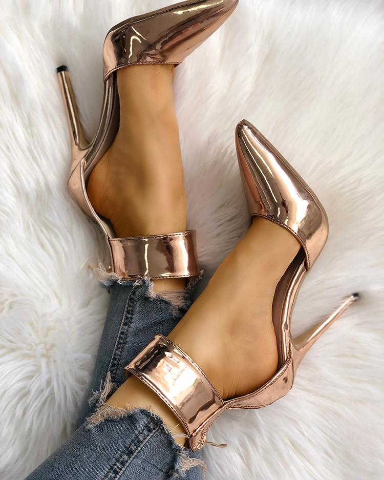 Solid Ankle Strap Pointed Toe Thin Heels