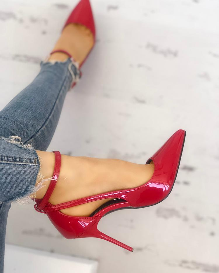 chicme / Fivela de cor sólida recorte apontou Toe Heels