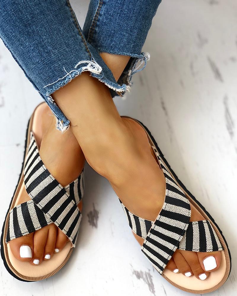 Crisscross Design Striped Flat Sandals фото