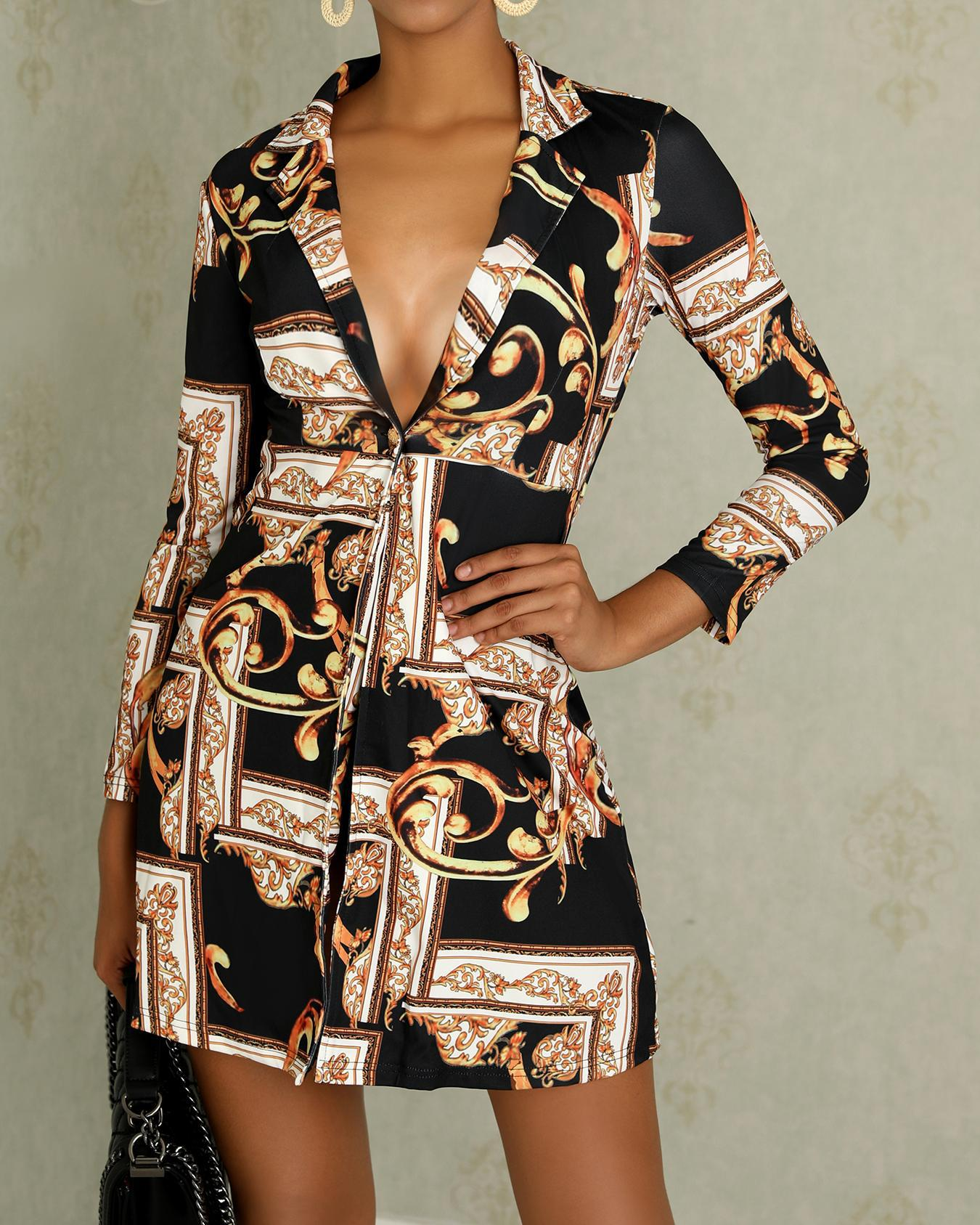 Vintage Print Long Sleeve Casual Wrap Dress chicme