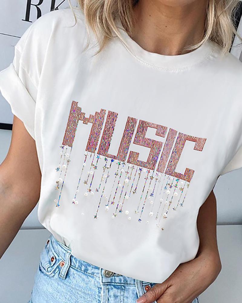 chicme / Carta de lantejoulas em torno do pescoço Casual T-shirt