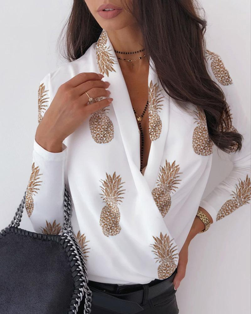 V Neck Surplice Wrap Pineapple Print Long Sleeve Blouse фото