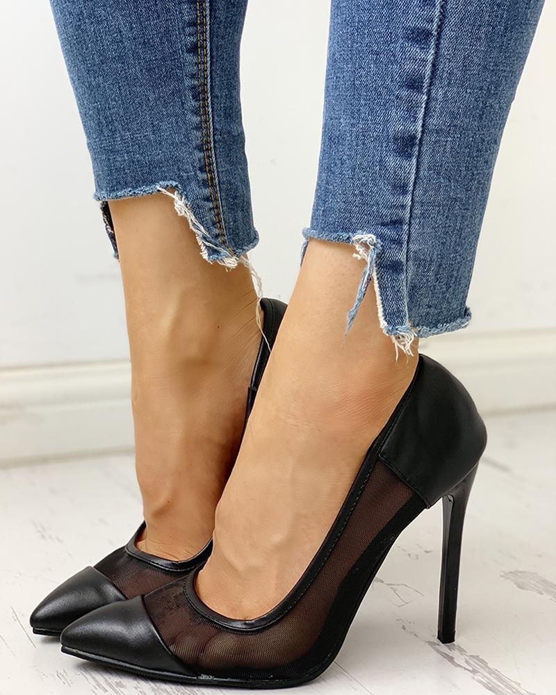Pointed Toe Mesh Insert Heeled Sandals