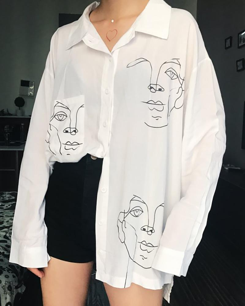 Print Long Sleeve Bottoned Shirt фото