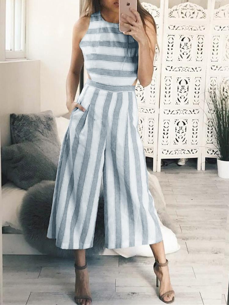 chicme / Striped Cutout Waist Wide Leg Jumpsuit