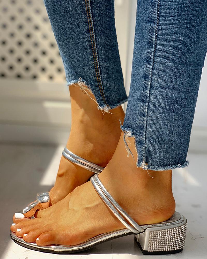 boutiquefeel / Sandálias com tiras duplas com tiras cravejadas
