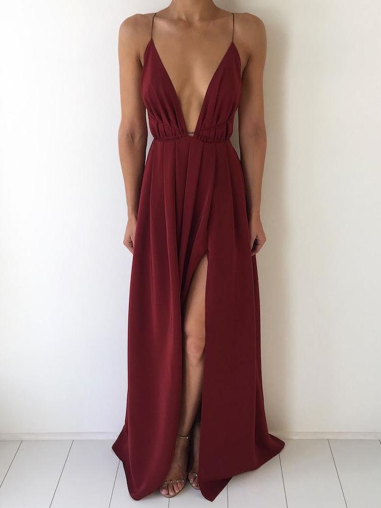 chicme / Elegante Crisscross Open Back Slit Maxi Vestido Maxi