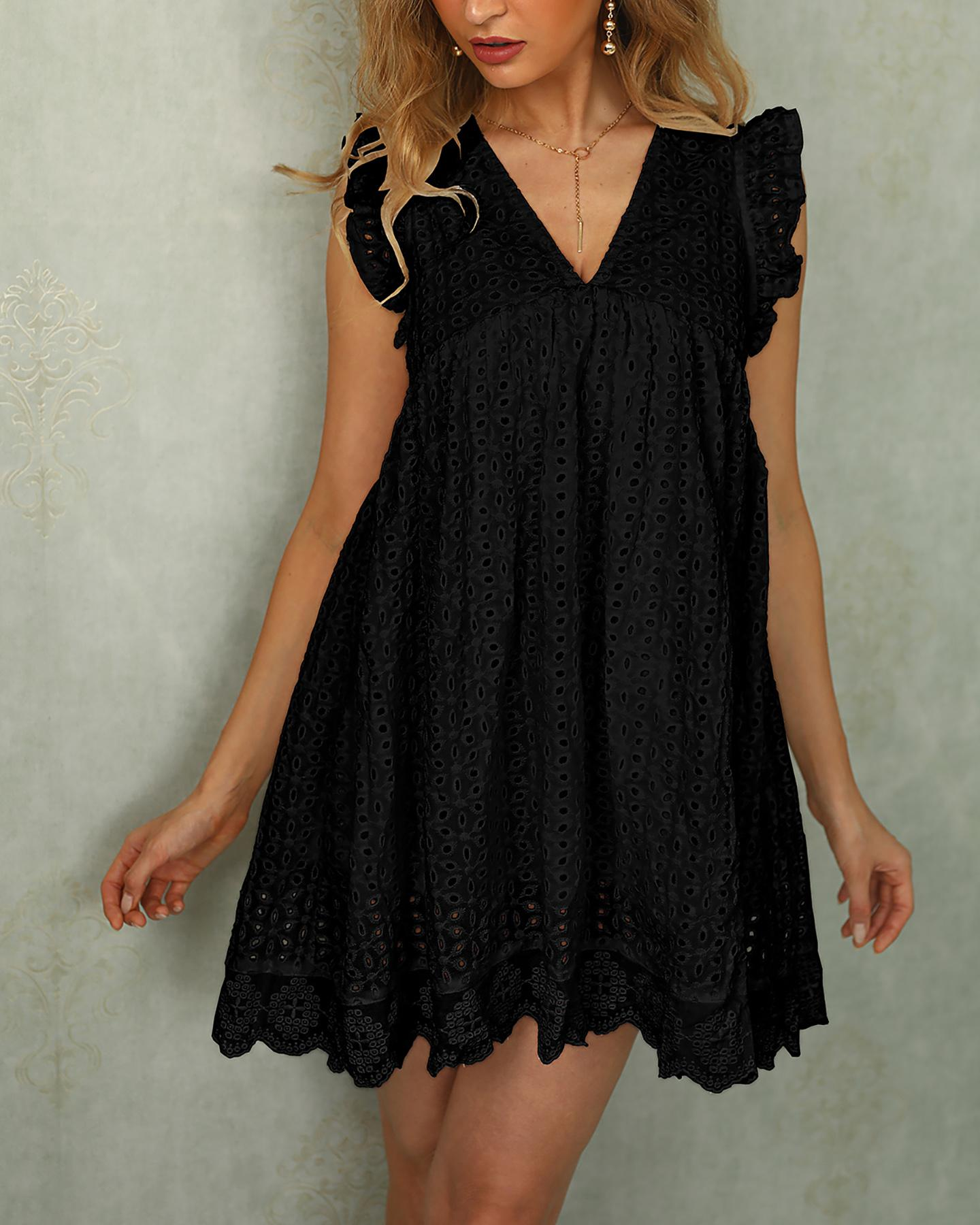 Broderie Anglaise Ruffles Design Casual Dress фото