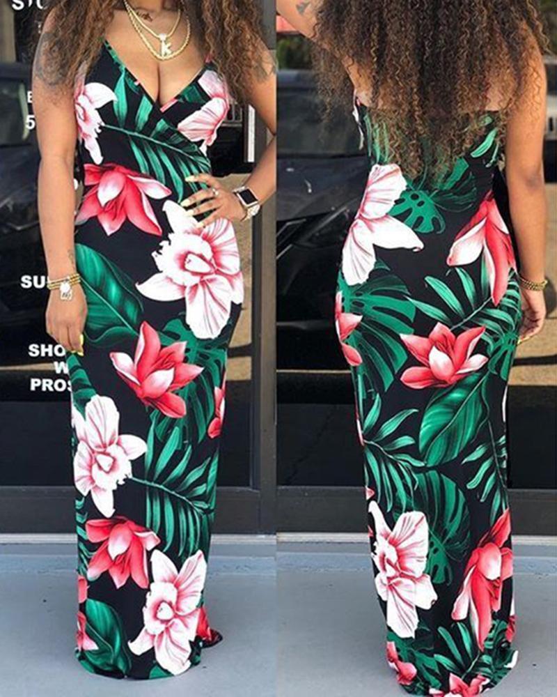 Floral Print Sling Maxi Dress