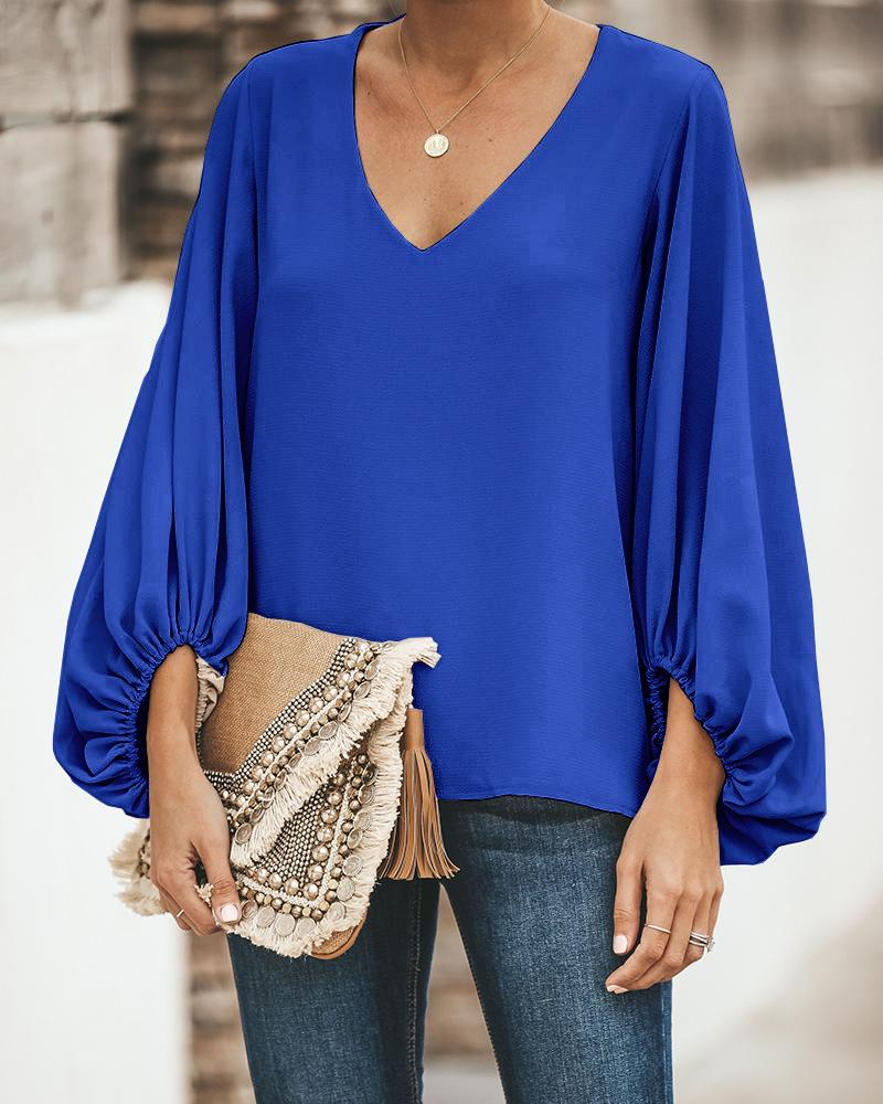 V Neck Puff Long Sleeve Loose Blouse фото