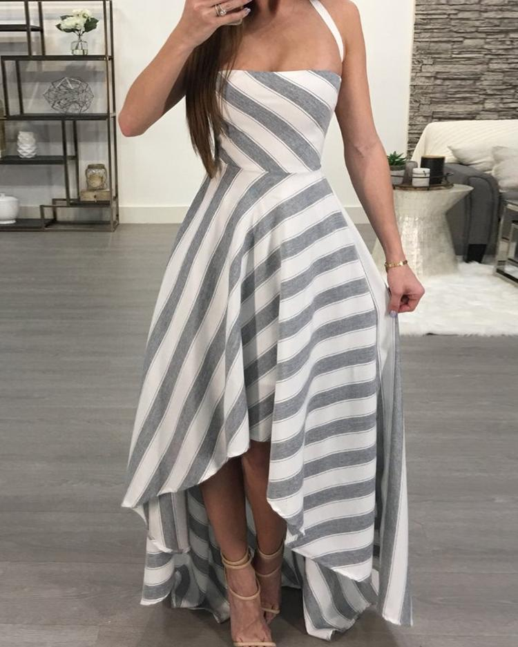 Contrast Striped Crisscross Open Back Maxi Dress