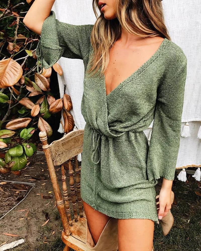 ivrose / Gravata Cuff Wrap Sweater Dress