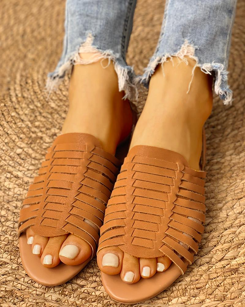 joyshoetique / Braided Design Peep Toe Flat Sandals