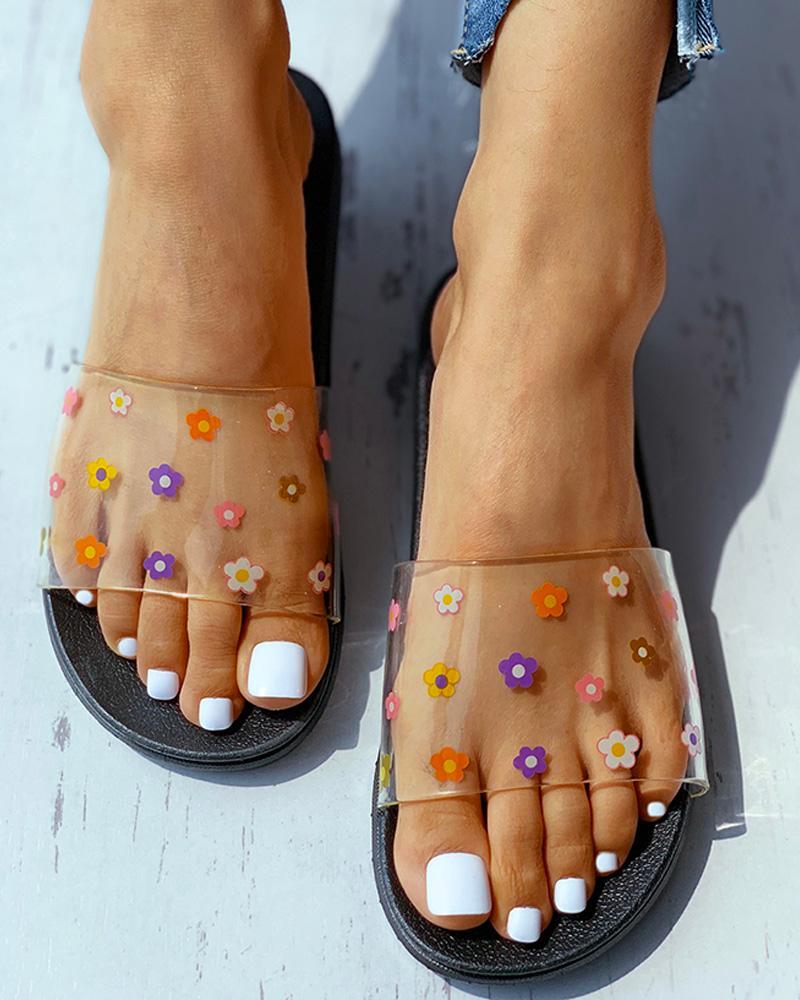 Floral Pattern Transparent Flat Sandals фото