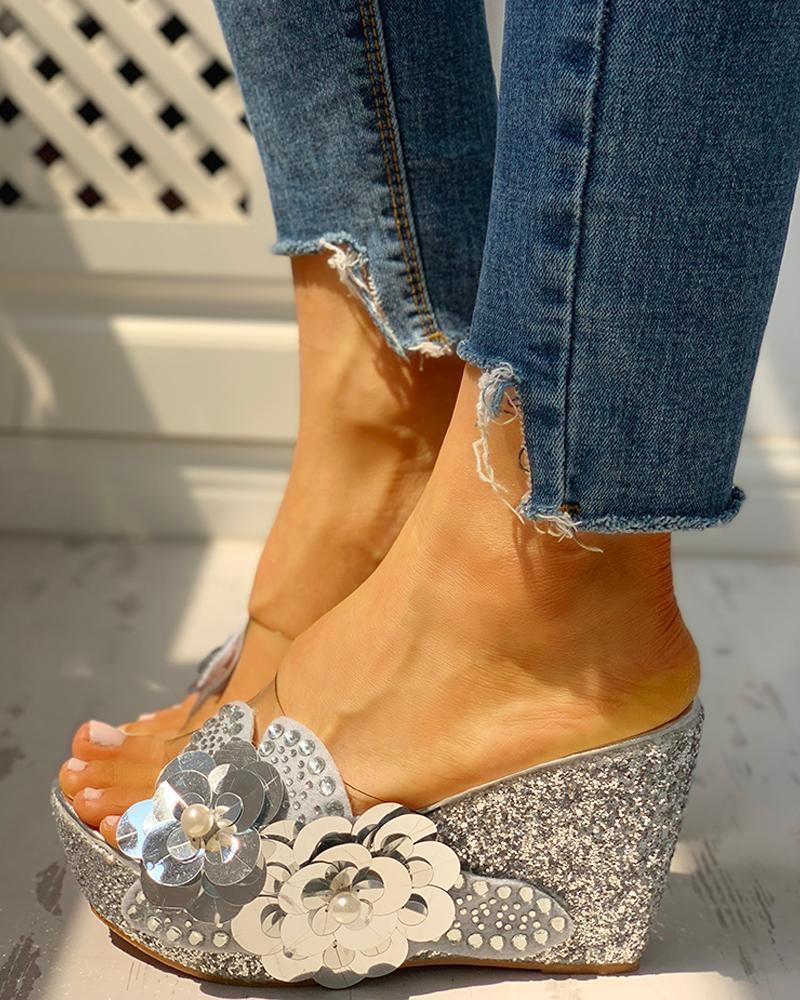 ivrose / Transparent Bead Studded Platform Wedge Sandals