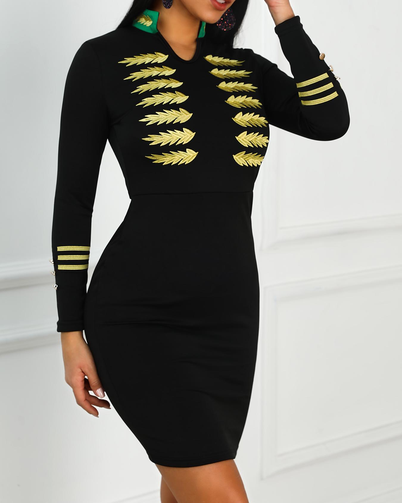 Embroidery Long Sleeve Bodycon Dress фото