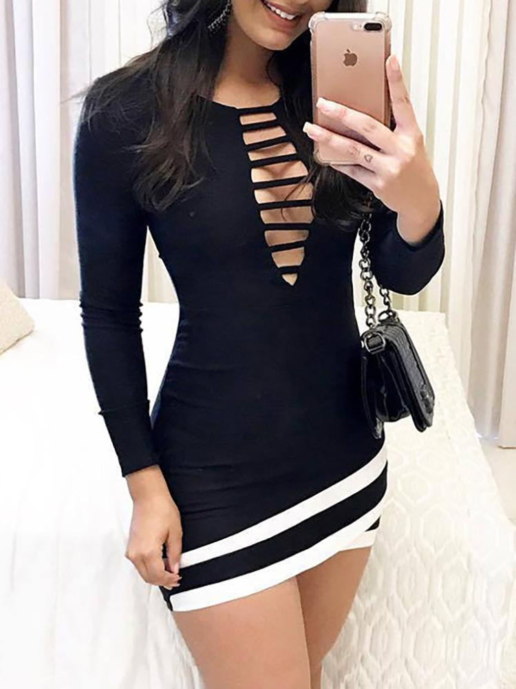 Ladder Cut Out Striped Tape Bodycon Dress