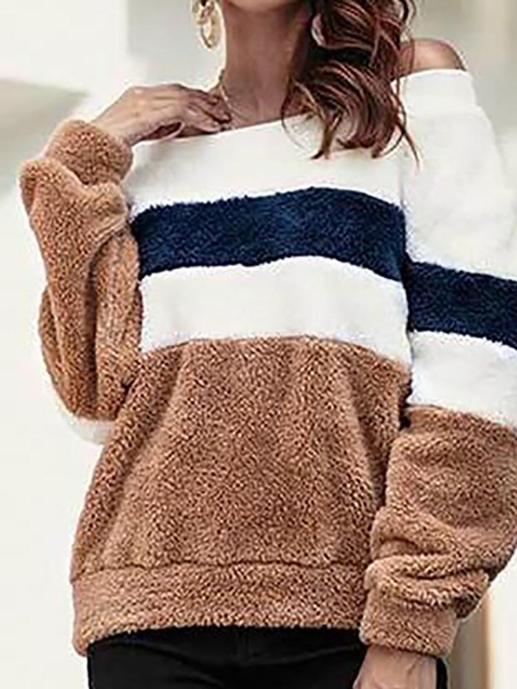 Fluffy Off Shoulder Colorblock Sweatshirt