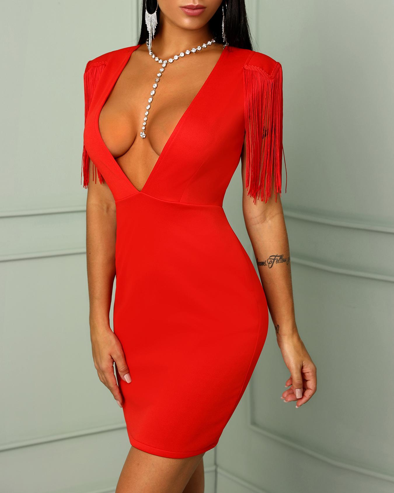 Solid Tassel Plunge Bodycon Mini Dress