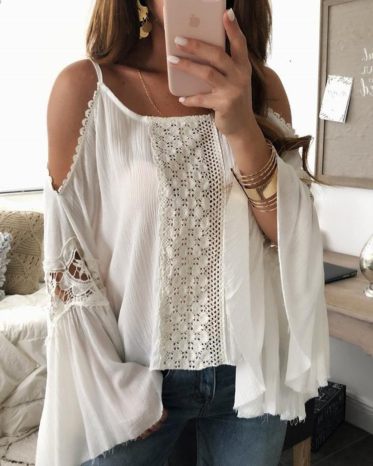 Cold Shoulder Flared Sleeve Crochet Splicing Blouse